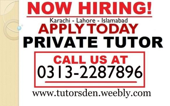 home tutor in pakistan, home tutor in karachi, teaching jobs, tuition , private teacher, jobs in karachi,